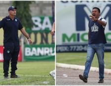 El técnico crema, Iván Franco Sopegno, buscará vencer al de Guastatoya, Amarini Villatoro. (Foto Prensa Libre: Francisco Sánchez)