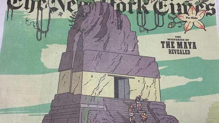 Publicación de los Misterios de los Mayas en edición especial, The New York Times. (Foto Prensa Libre: Cortesía Inguat)