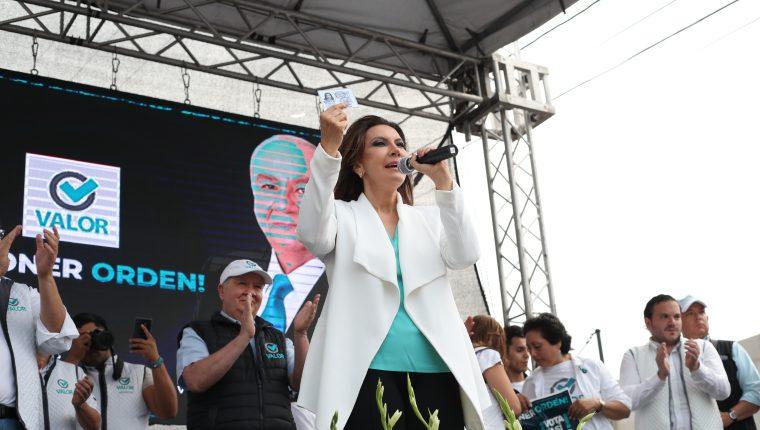 Zury Ríos durante un mitin del partido Valor. (Foto Prensa Libre: Érick Ávila)