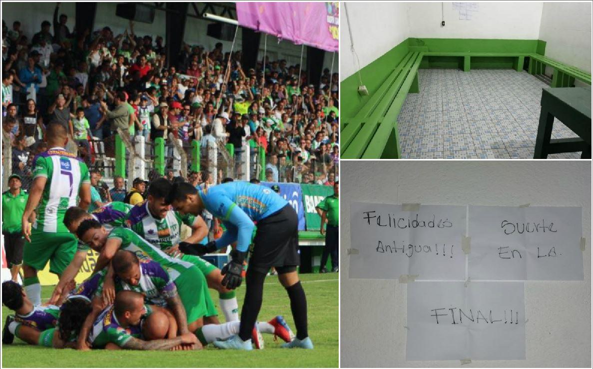Mensaje de Guastatoya para Antigua después de perder el pase a la final. (Foto Prensa Libre).