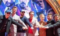 (From L-R) President of Marvel Studios/Producer Kevin Feige, actors  Chris Hemsworth, Chris Evans, Robert Downey Jr., Scarlett Johansson, Mark Ruffalo and Jeremy Renner attends the Marvel Studios' 'Avengers: Endgame' cast place their hand prints in cement at TCL Chinese Theatre IMAX Forecourt on April 23, 2019, in Hollywood, California. (Photo by VALERIE MACON / AFP)