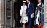 (FILES) In this file photo taken on March 11, 2019 Britain's Prince Harry, Duke of Sussex (C) and Meghan, Duchess of Sussex (L) leave after attending a Commonwealth Day Service at Westminster Abbey in central London, on March 11, 2019. - Prince Harry and his wife Meghan's baby will be a girl called Diana born at home early next month -- or so say the odds being offered by British bookmakers. (Photo by Ben STANSALL / AFP)