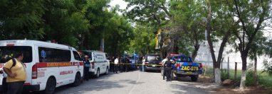 Lugar donde fueron atacados los agentes de la PNC. (Foto Prensa Libre: Mario Morales).