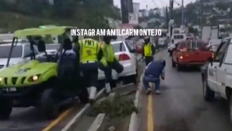 Un accidente que fue reportado en la zona 16. (Foto Prensa Libre: Amilcar Montejo)