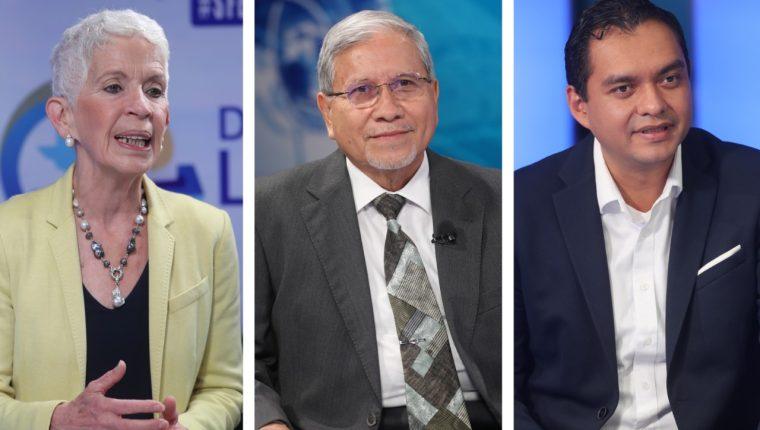 Adela Camacho de Torrebiarte, de Creo, Osmundo Ponce, de URNG-Maíz, y Gerson Sotomayor, de la UNE, participaron en el programa Sin Filtro Electoral. (Foto Prensa Libre: Érick Ávila)