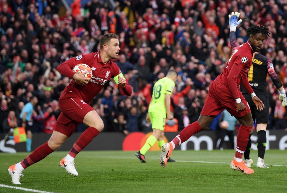 Un tanto de Origi tiene arriba al Liverpool 1-0 contra el Barcelona. (Foto Champions League).