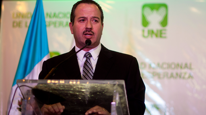 Mario Leal en el día que fue presentado como candidato vicepresidencial de Sandra Torres en 2015. (Foto Prensa Libre: Hemeroteca PL)