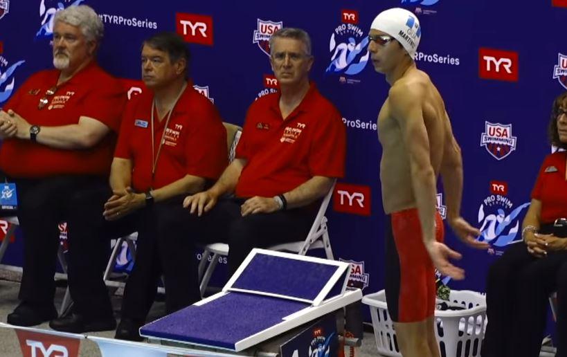 Luis Carlos Martínez durante la prueba de los 100 metros mariposa durante el TYR Pro Swim Series de Bloomington, Indiana. (Foto Redes).