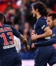 neymar festeja el único tanto del París SG en el partido contra el Niza. (Foto Prensa Libre: AFP).