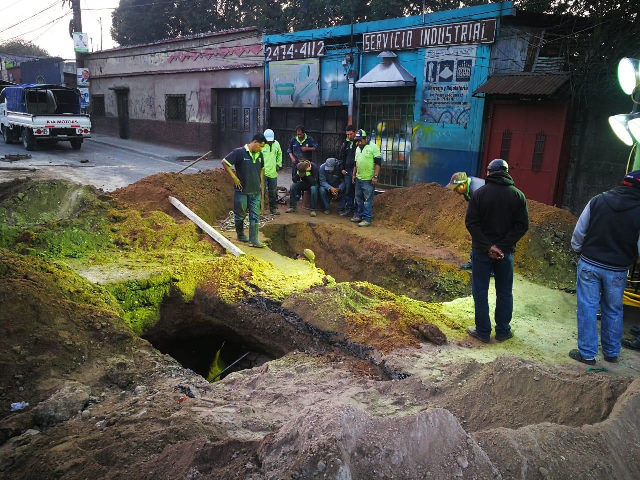 Trabajos realizados en la avenida Petapa. (Foto Prensa Libre: Juan Diego González)