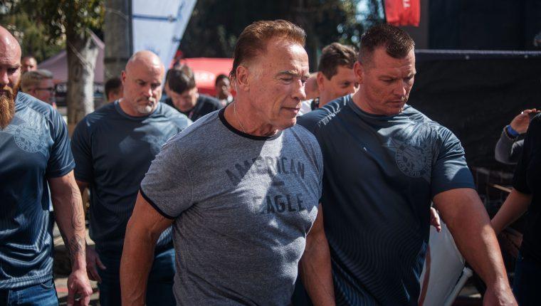 El actor Schwarzenegger el pasado viernes 17, en Classic Africa, un festival de múltiples deportes celebrado en Sudáfrica. (Foto Prensa Libre: Michele Spatari / AFP).