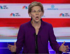 Elizabeth Warren dominó el debate del partido Republicano en su carrera a la Casa Blanca. (Foto Prensa Libre: AFP)