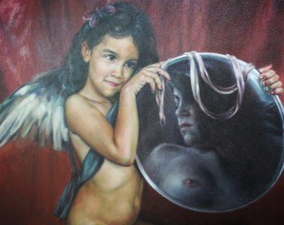 Fragmento de la reinterpretación de Manolo Gallardo, de la Venus del Espejo de Velásquez en su actual  muestra en la Universidad Popular.  (Foto Prensa Libre: Ingrid Reyes).