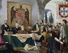 Este cuadro del siglo XV refleja cómo fue la firma del tratado de Tordesillas. GETTY IMAGES
