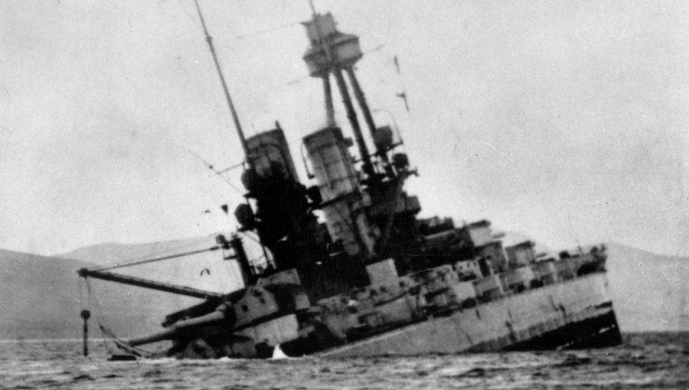 """Para los alemanes, el hundimiento de su flota Scapa Flow borró la """"mancha de la rendición"""". CORTESÍA DE LA BIBLIOTECA Y ARCHIVO DE ORKNEY"""