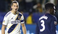 CARSON, CALIFORNIA - JUNE 02: Zlatan Ibrahimovic #9 of Los Angeles Galaxy reacts after scoring a game during the second half of a game against the New England Revolution at Dignity Health Sports Park on June 02, 2019 in Carson, California.   Katharine Lotze/Getty Images/AFP == FOR NEWSPAPERS, INTERNET, TELCOS & TELEVISION USE ONLY ==