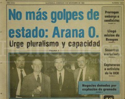Portada de Prensa Libre del  3 de noviembre de 1985, fecha de las primeras elecciones de la era democrática. (Foto: Hemeroteca PL)