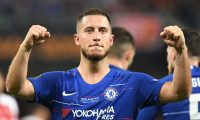 (FILES) In this file photo taken on May 30, 2019 Chelsea's Belgian midfielder Eden Hazard  celebrates after celebrates after scoring a goal during the UEFA Europa League final football match between Chelsea FC and Arsenal FC at the Baku Olympic Stadium in Baku, Azerbaijian. - Belgian forward Eden Hazard joins Real Madrid from Chelsea the club announced on June 7, 2019. (Photo by OZAN KOSE / AFP)