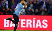 Uruguay's Luis Suarez celebrates after scoring against Panama during their international friendly football match at Centenario Stadium in Montevideo on June 7, 2019. (Photo by Pedro UGARTE / AFP)