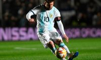 Argentina's Lionel Messi strikes the ball during the international friendly football match against Nicaragua at the San Juan del Bicentenario stadium in San Juan, Argentina, on June 7, 2019. (Photo by Andres LARROVERE / AFP)