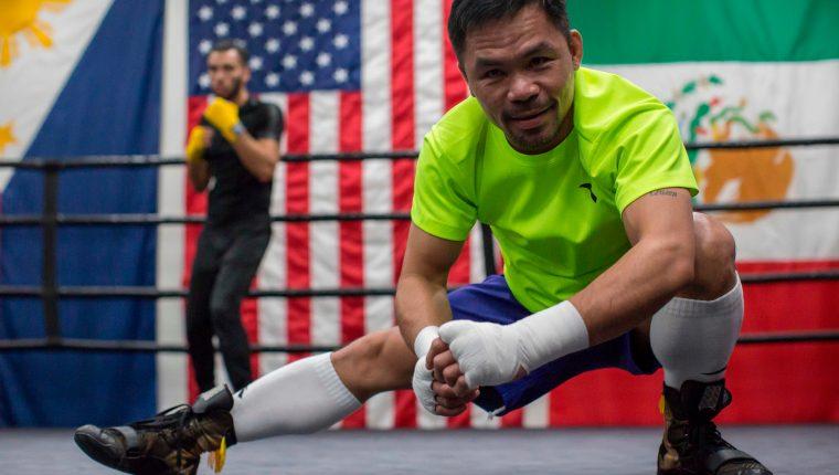 Manny Pacquiao, durante una de sus sesiones de entrenamiento. (Foto Prensa Libre: AFP)