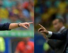 El técnico de Paraguay, Eduardo Berizzo, y el brasileño Tite, pelean por un lugar en las semifinales.  (Foto Prensa Libre: AFP)