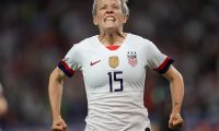 United States' forward Megan Rapinoe celebrates after scoring a goal during the France 2019 Women's World Cup quarter-final football match between France and USA, on June 28, 2019, at the Parc des Princes stadium in Paris. (Photo by Lionel BONAVENTURE / AFP)