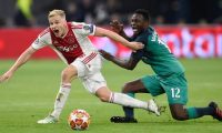 (FILES) In this file photo taken on May 8, 2019 Ajax's Dutch midfielder Donny van de Beek (L) vies with Tottenham's Kenyan midfielder Victor Wanyama during the UEFA Champions League semi-final second leg football match between Ajax Amsterdam and Tottenham Hotspur at the Johan Cruyff Arena, in Amsterdam. (Photo by JOHN THYS / AFP)