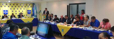 Los representantes de los clubes de la Liga Nacional durante la Asamblea que se llevó a cabo este miércoles 12 de junio. (Foto Prensa Libre: Luis López)