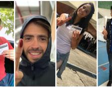 Marco Pappa, Rodrigo Saravia, Elizabeth Zamora y Mario Pacay cumplen con su voto. (Foto Prensa Libre)