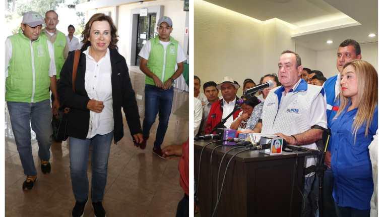 Sandra Torres y Alejandro Giammattei siguen en campaña. (Fotos Prensa Libre: Dadiana Cabrera y Eduardo Sam)