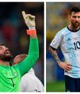 Alisson y Messi se enfrentarán en las semifinales. (Foto Prensa Libre: EFE Y AFP)