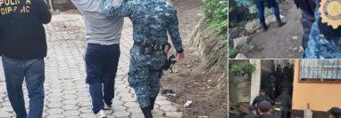 Los tres patrulleros detenidos fueron trasladados al juzgado que lleva el caso. (Foto Prensa Libre: PNC).