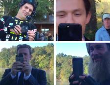 Mark Rufallo, Toma Holland, Chris Evans y Chris Hemsworth durante la grabación de la escena del funeral de Tony Stark. (Foto Prensa Libre: Instagram y twitter de los actores)