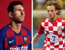 El diseño de la camisola del FC Barcelona es casi igual que el de la selección de Croacia. (Foto Prensa Libre: Twitter @FCBarcelona y Hemeroteca PL)