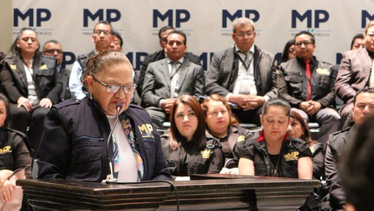 Fiscal General María Consuelo Porras durante la actividad. (Foto Prensa Libre: Ministerio Público).
