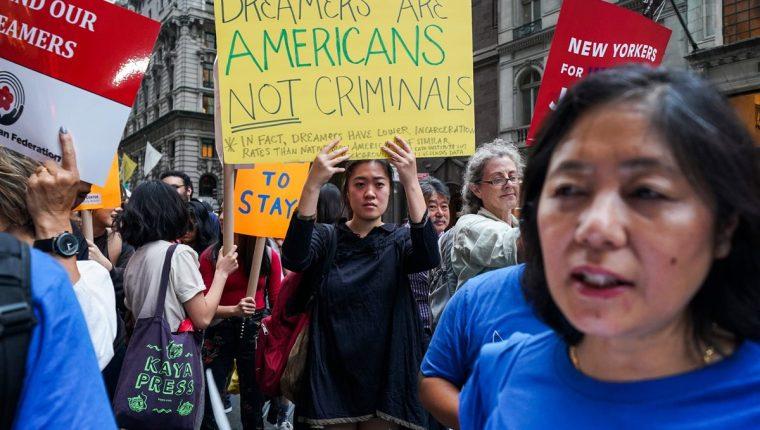 En abril de 2018 líderes y activistas protestaron en Nueva York contra las políticas migratorias de Trump. (Foto Prensa Libre: AFP)