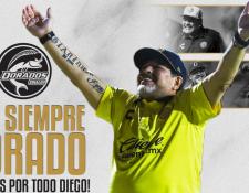 Dorados agradeció públicamente así a Diego Maradona por las dos temporadas que estuvo a cargo de dicho equipo. (Foto Prensa Libre: Twitter Dorados)