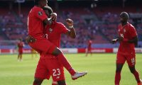 Panama Michael Murillo (C,#23) celebrates a goal against Guyana during their CONCACAF Gold Cup group stage match at First Energy Stadium in Cleveland, Ohio June 22, 2019. (Photo by TIMOTHY A. CLARY / AFP)
