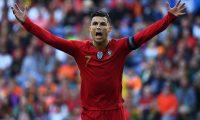 Cristiano Ronaldo, en la final de la Liga de Naciones de la UEFA ante Holanda. (Foto Prensa Libre: AFP)