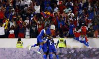 HARRISON, NJ - JUNE 24: Haiti celebrates a goal by Duckens Nazon #9 during the second half of a CONCACAF Gold Cup soccer match against Costa Rica at Red Bull Arena on June 24, 2019 in Harrison, N.J.   Adam Hunger/Getty Images/AFP == FOR NEWSPAPERS, INTERNET, TELCOS & TELEVISION USE ONLY ==