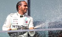 MONTREAL, QUEBEC - JUNE 09: Race winner Lewis Hamilton of Great Britain and Mercedes GP celebrates on the podium during the F1 Grand Prix of Canada at Circuit Gilles Villeneuve on June 09, 2019 in Montreal, Canada.   Mark Thompson/Getty Images/AFP == FOR NEWSPAPERS, INTERNET, TELCOS & TELEVISION USE ONLY ==