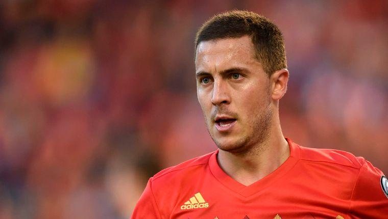 El belga Eden Hazard, durante un juego ante Kazajistán, en la clasificatoria a la Eurocopa 2020. (Foto Prensa Libre: AFP)