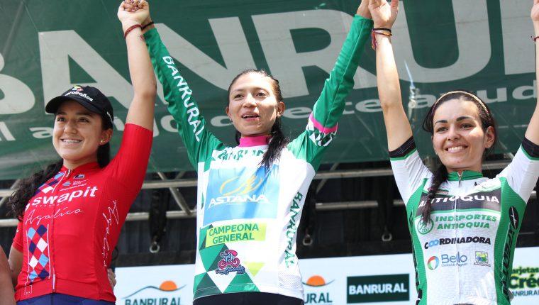 Liliana Moreno, del equipo Astana, se quedó con el título de campeona de la Vuelta a Guatemala. (Foto Prensa Libre: Luis López).