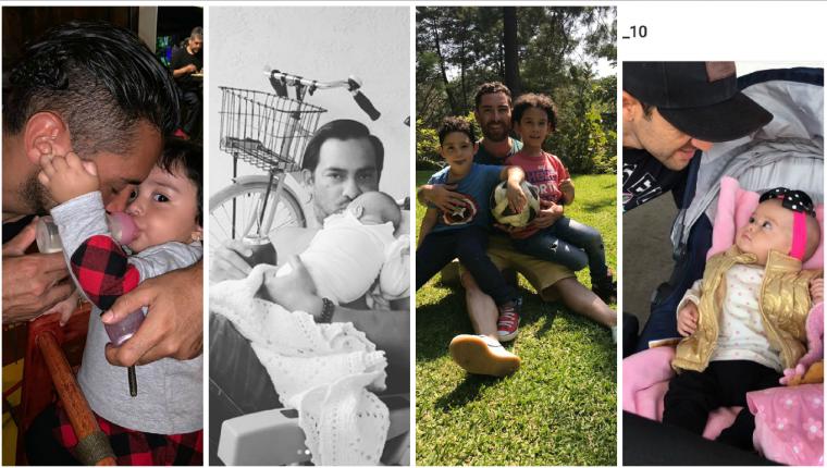 Edi Danilo Guerra, Carlos Ruiz, Jean Jonathan Márquez y José Manuel Contreras, en su faceta favorita, la de padre. (Foto Prensa Libre: redes sociales)