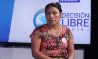 Thelma Cabrera, candidata presidencial por el Movimiento Para La Liberaci—n de Los Pueblos, en el programa sin Filtro que trasmite Guatevisi—n y Prensa Libre.   Fotograf'a. Erick Avila:            04/06/2019