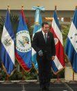 Jimmy Morales, durante su discurso en la Cumbre Empresarial del Sistema de Integración Centroamericana (Sica) aseguró ante un grupo de empresarios que cumplió con sus ejes en materia económica. (Foto Prensa Libre: Esbin García)