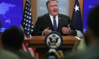 WASHINGTON, DC - JUNE 10: U.S. Secretary of State Mike Pompeo speaks during a media briefing at the State Department June 10, 2019 in Washington, DC. Secretary Pompeo discussed topics including the latest development on tension with Iran.   Alex Wong/Getty Images/AFP == FOR NEWSPAPERS, INTERNET, TELCOS & TELEVISION USE ONLY ==