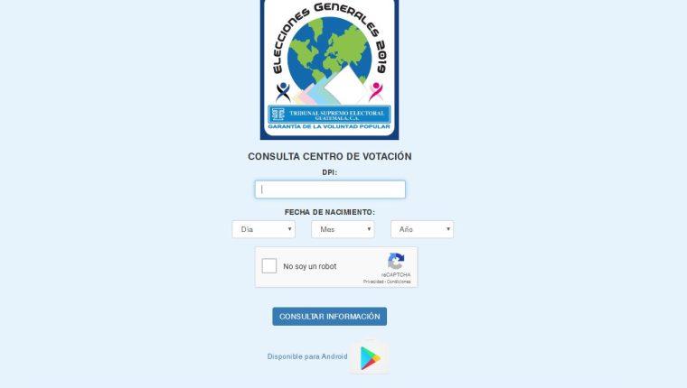 Esta es la página para consulta su centro de votación. (Foto Prensa Libre. Mynor Toc)