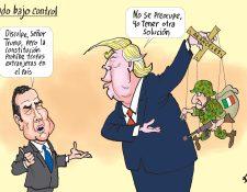 Personajes: Jimmy Morales y Donald Trump.